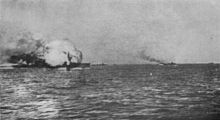 The HMS Invincible blowing up - Wiki