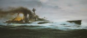 HMS Hood broadside painting