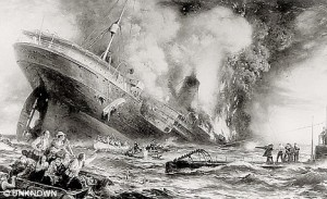 WWI sinking of the Lusitania contemporary sketch