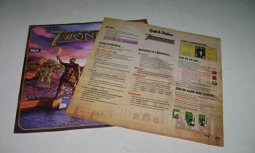 7 Wonders Rule Book and Cheat Sheet