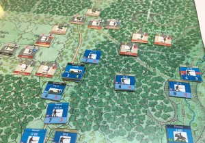 "Jeff Davis (no, not that Jeff Davis) has just arrived with badly needed Union reinforcements. The Confederates have advanced with heavy casualties down the center of the board and though MMorgan's Woods to the Union's right. But the effects of ""double canister at 10 yards"" can plainly be seen in the upper left of the photo"