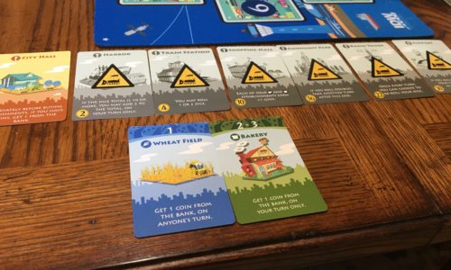 Machi Koro - Opening with expansions and mat